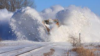 Awesome Powerful Train plow through snow railway tracks - Part 1