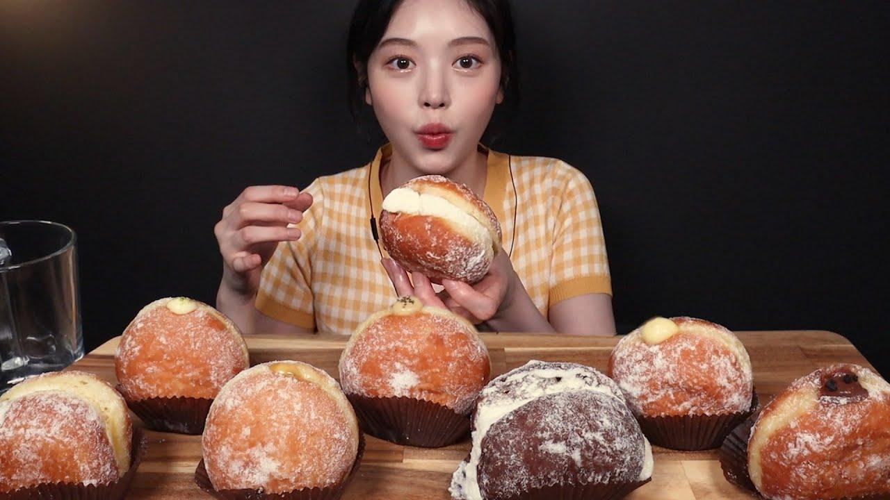 SUB)노티드 도넛 먹방!🍩 우유생크림, 초코푸딩, 마스카포네치즈, 얼그레이까지 드디어 영접✨ 디저트 리얼사운드 Doughnut dessert Mukbang Asmr