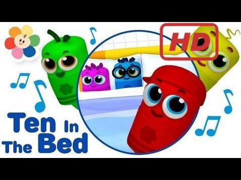 Baby Learn |  Ten in The Bed 3D Nursery Rhymes Song - Color Crew Babies | 3D Rhymes for Children |