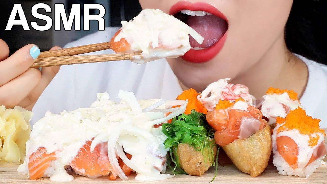 ASMR Salmon Sushi with White Sauce Inari Sushi 화이트소스 연어초밥, 유부초밥 먹방 Eating Sounds Mukbang
