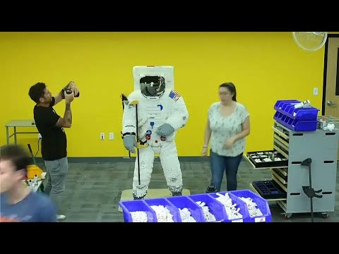 Watch: LEGO celebrate moon-landing with life-sized model astronaut