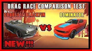 GTA 5 PS4 - Coquette BlackFin Vs Dominator Drag Race Comparison | Which is fastest? (GTA V)
