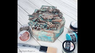 Altered mixed-media box with patina effect paste