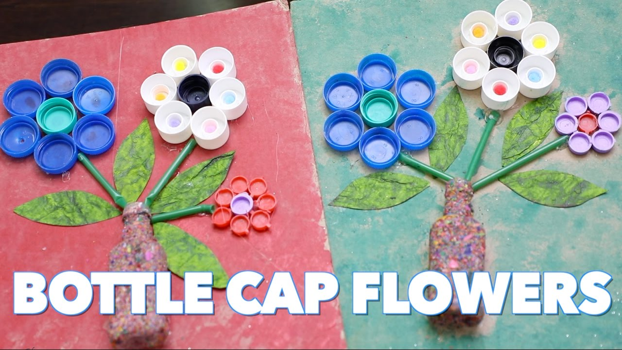 How to make bottle cap flowers craft with waste material for How to make bottle cap crafts