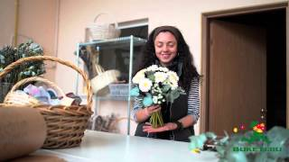 Красивый букет цветов из белых гербер с эхеверией(, 2014-10-16T07:56:35.000Z)