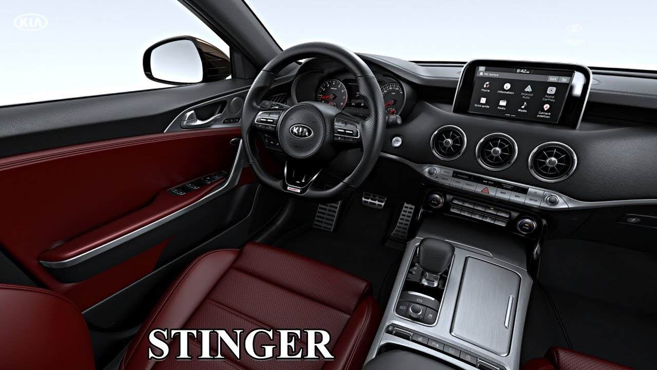 2018 kia stinger gt interior red nappa leather youtube. Black Bedroom Furniture Sets. Home Design Ideas