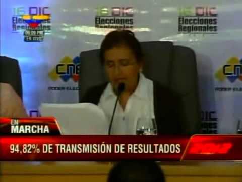 Tibisay Lucena lee resultados elecciones 16-D: Chavismo gana en 20 de 23 estados