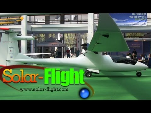 Solar Flight solar powered electric motor glider, Eric Raymond at AERO Expo Friedrichshafen Germany