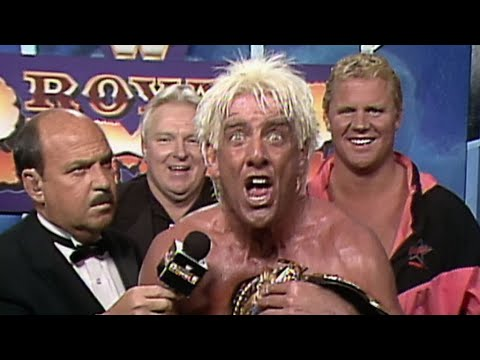 Ric Flair celebrates his 1992 Royal Rumble Match victory