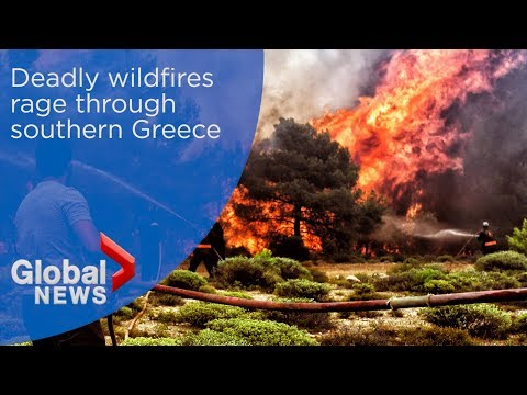 Deadly wildfires rage through southern Greece