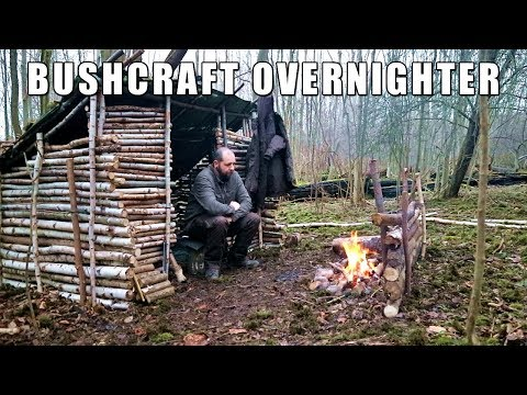 Bushcraft Overnighter - Winter Shelter With Wood Stove