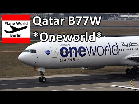 Qatar Airways Boeing 777-300ER *Oneworld* landing in Berlin TXL