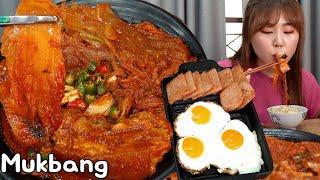 통삼겹 김치찜 계란후라이, 스팸 밥도둑 먹방 Mukbang