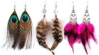 DIY: Earrings with feathers PART 1 / Серьги с перьями своими руками (Часть 1)