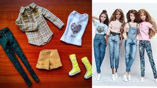 8 DIY Barbie hacks and crafts; Making easy clothes jeans, top, sweater for Barbie Doll
