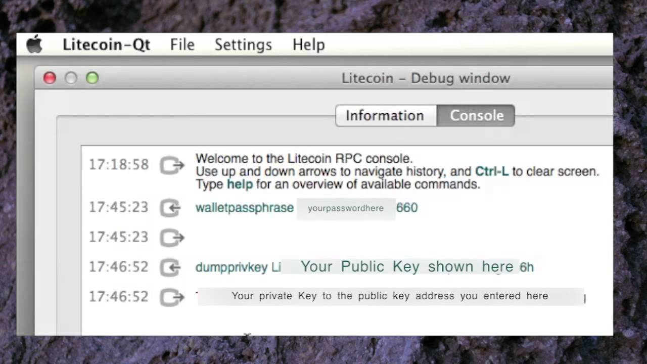Litecoin qt wallet private key access tutorial client dumpprivkey litecoin qt wallet private key access tutorial client dumpprivkey walletpassphrase ccuart Choice Image