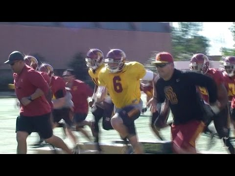 USC continues spring practice, Cody Kessler and Steven Mitchell standout, Stephen Carr watches