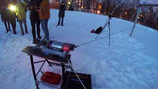 Огневые испытания турборективного двигателя для реактивного ранца