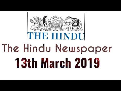 The Hindu Newspaper 13th March 2019