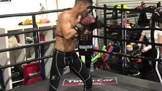 Pad work with Pro Boxer 'Action' Jackson England
