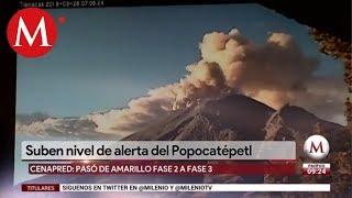 Aumenta alerta volcánica en el Popocatepetl