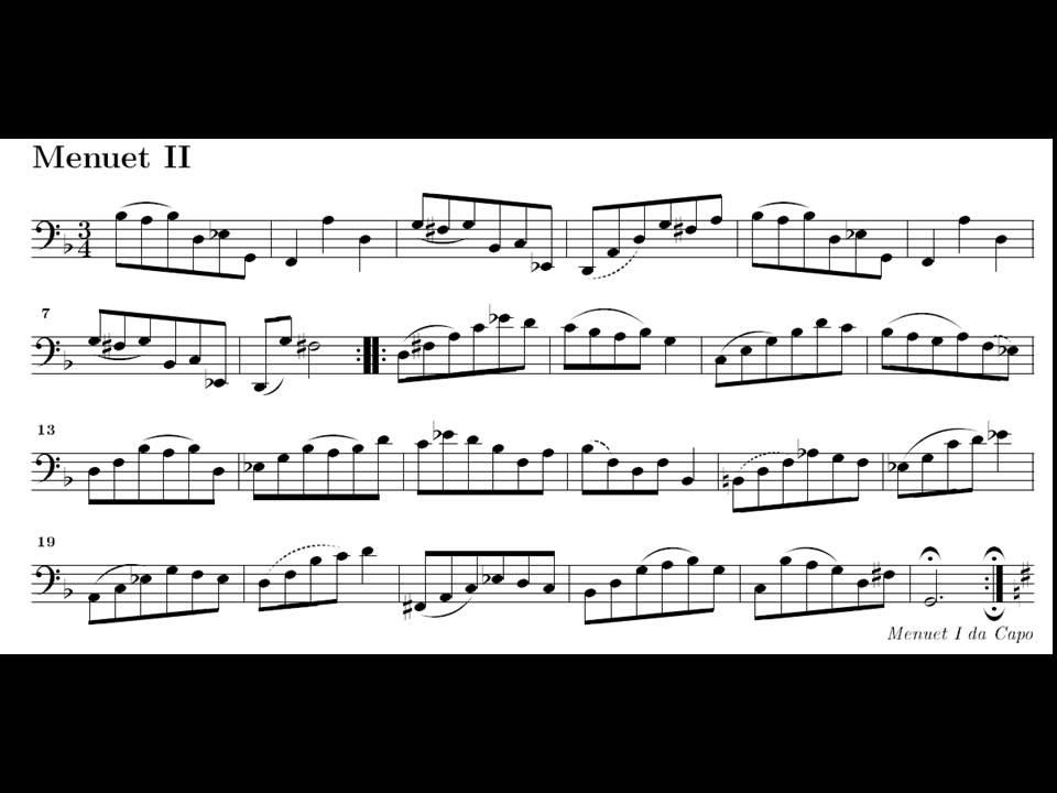 J.S. Bach. Cello. Suite nº 1 en Sol M BWV 1007. Menuet. Partitura ...