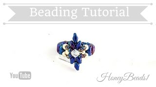 Dear Diamond Ring Beading Tutorial by HoneyBeads1 (with superduo beads)