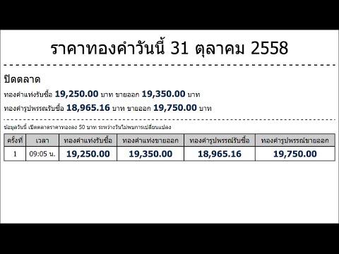 ราคาทองคำวันนี้ 31 ตุลาคม 2558