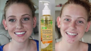 Garnier Clean + Nourishing Cleansing Oil Review + Demo Thumbnail