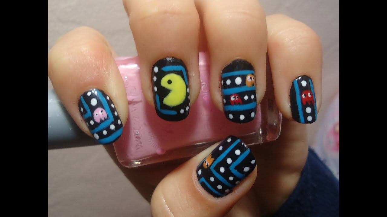 Pacman nail art tutorial youtube prinsesfo Image collections