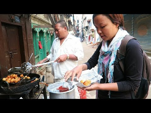 NEPALI STREET FOOD TOUR | Deep Fried NEPALI BREAKFAST+ KATHMANDU Sightseeing (Part 1)
