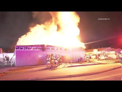 Fire Rips Through Animal Feed Store | San Bernardino