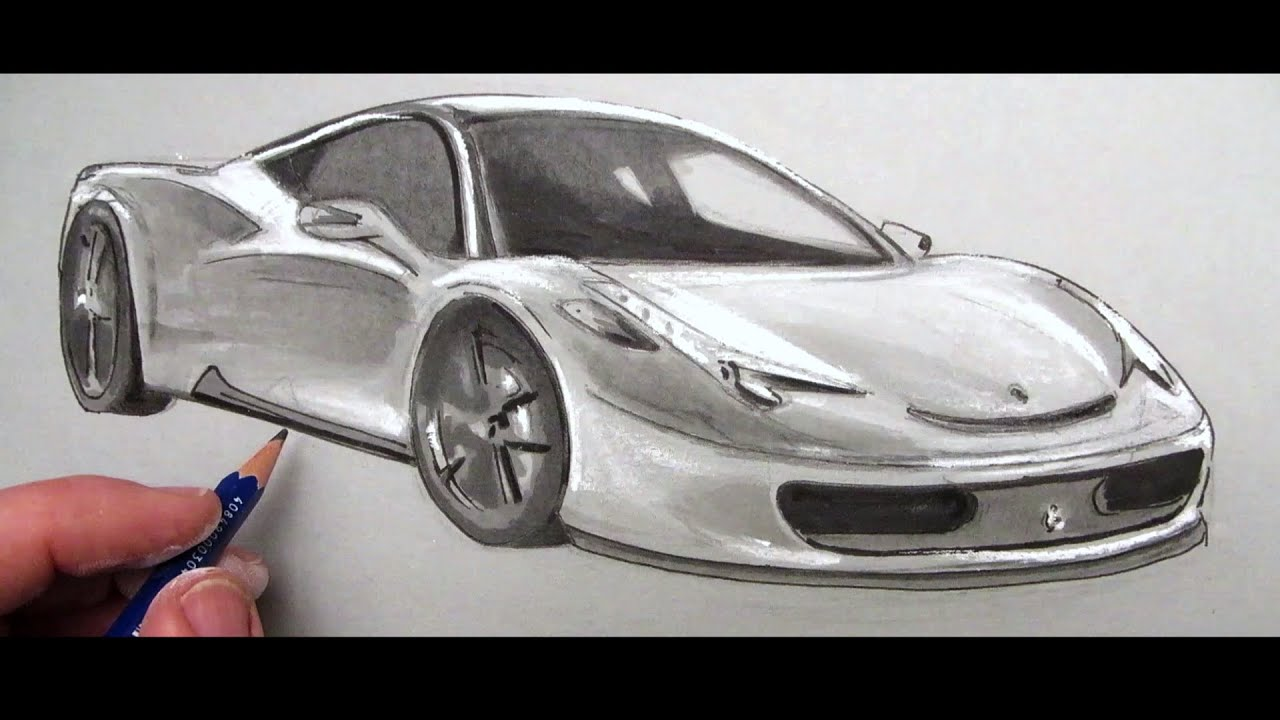 How to Draw a Car Ferrari 458