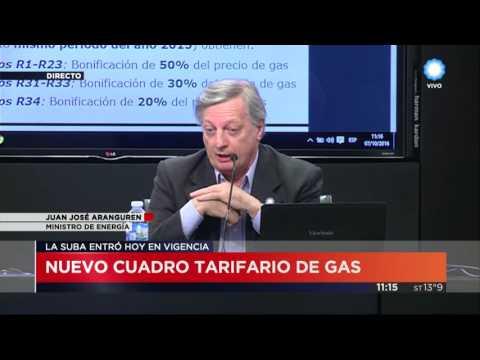 Aranguren explicó el nuevo cuadro tarifario y dijo que nadie pagará más del 500 por ciento de aumento
