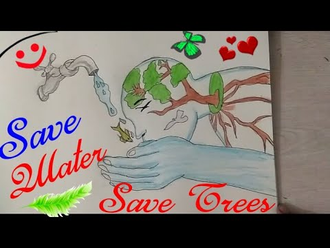 How To Draw Save Water Drawing Step By Step Save Trees Coloring