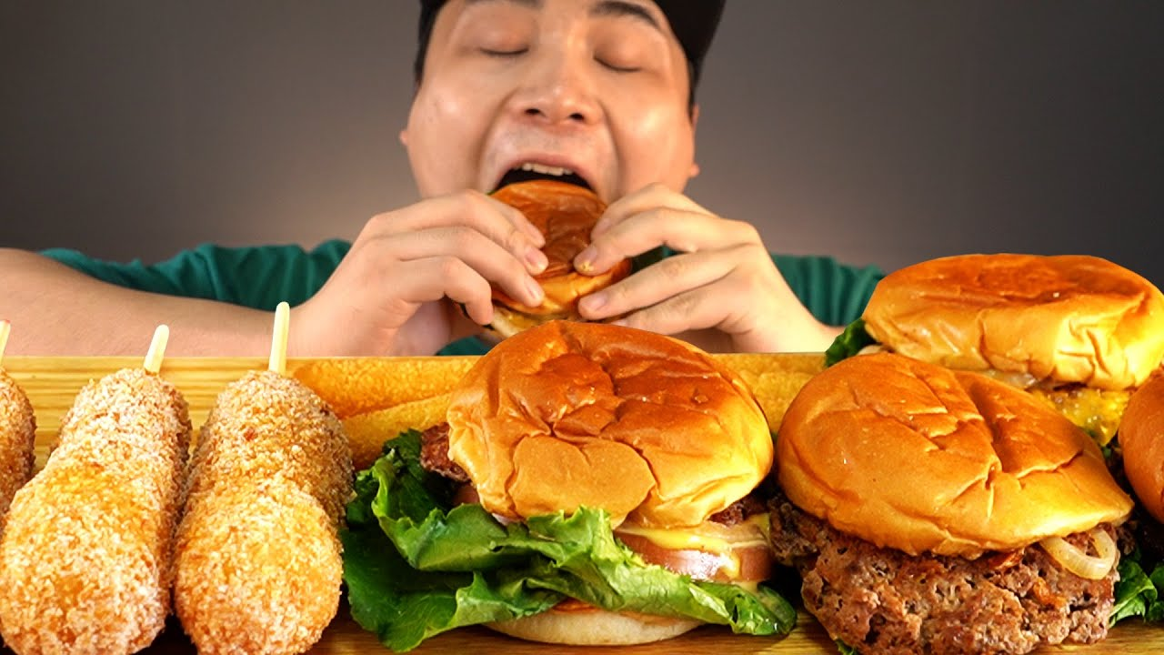 육즙이 살아있는 수제버거와 핫도그 먹방~!! 리얼사운드 ASMR social eating Mukbang(Eating Show)