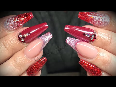 Acrylic Nails Red Design Set With White Chrome