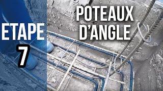 Pose des poteaux d'angle pour fondations et murs - Etape 7