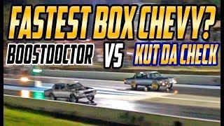 BOOST DOCTOR VS KUT DA CHECK BOX CHEVY TITLE RACE ! Twin Turbo Box Vs Procharged Box