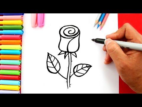 Vẽ bông hoa hồng - Vẽ bông hoa tặng mẹ 8-3 - Vẽ tranh ngày quốc tế phụ nữ 8-3