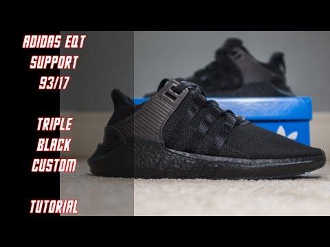 Adidas EQT Support 93/17 Triple Black | Custom | Tutorial