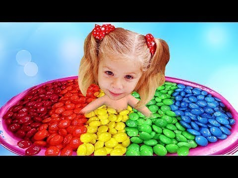 Bad Baby Diana Bath Time in M&M's! Learn Colors with Candy and Baby Songs Finger Family