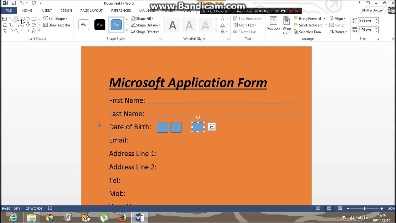 How To Make an application form on word 365 - YouTube