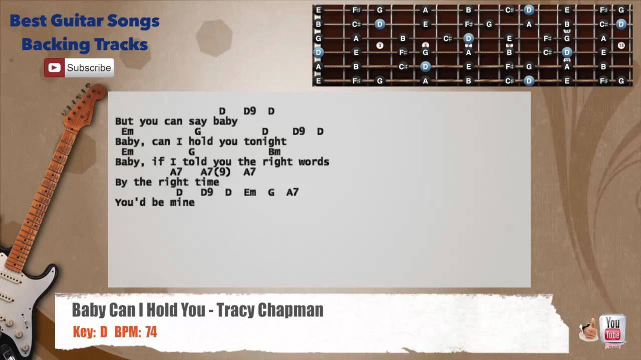 Baby Can I Hold You Tracy Chapman Guitar Backing Track With Scale