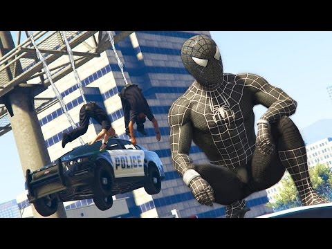 GTA 5 Mods - BLACK SPIDERMAN MOD! GTA 5 Symbiote Spiderman Mod Gameplay! (GTA 5 Mods Gameplay)