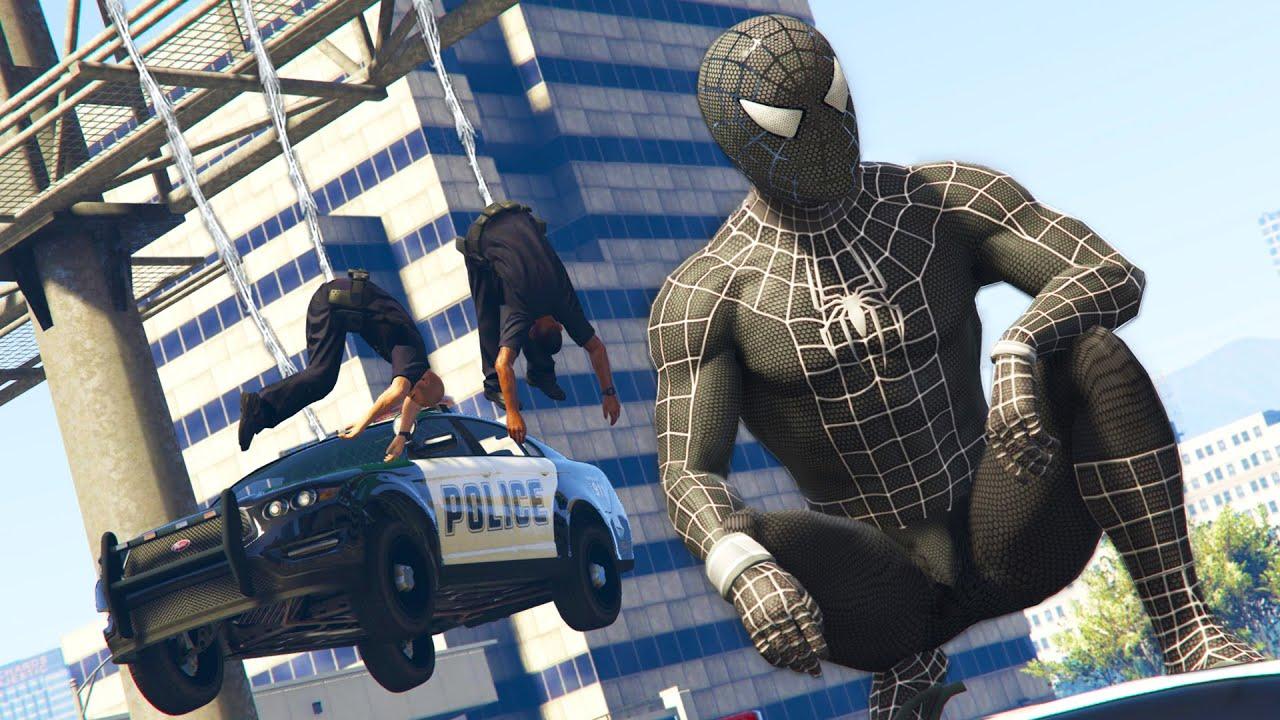 GTA 5 Mods - BLACK SPIDERMAN MOD! GTA 5 Symbiote Spiderman Mod Gameplay!  (GTA 5 Mods Gameplay)