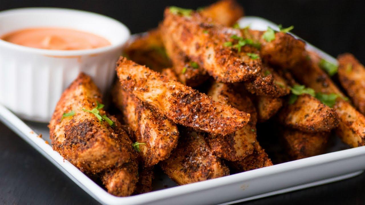 Best Ever Crispy Oven Baked Potato Wedge Fries Spicy Sriracha Mayo