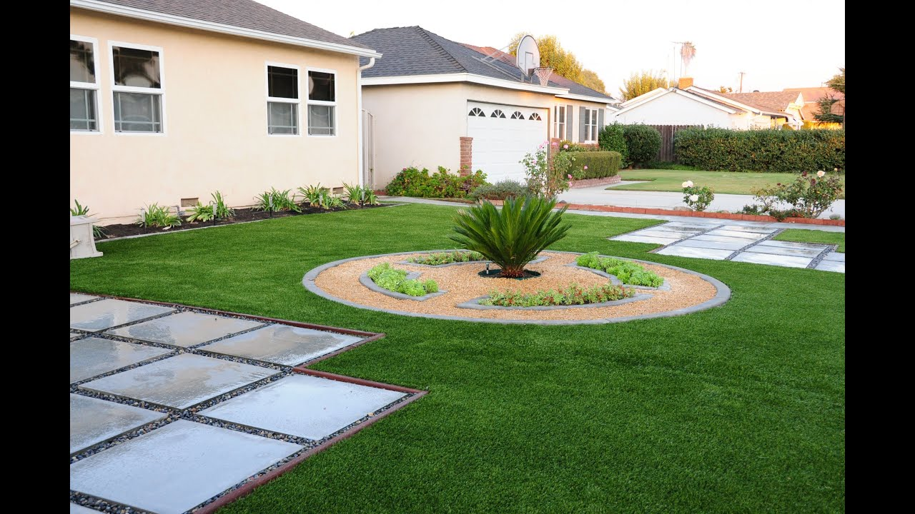 front yard landscaping concrete curb edging artificial turf u0026 paving stones