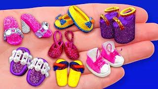 12 DIY BARBIE MINIATURE FOOTWEAR HACKS AND CRAFTS !!!