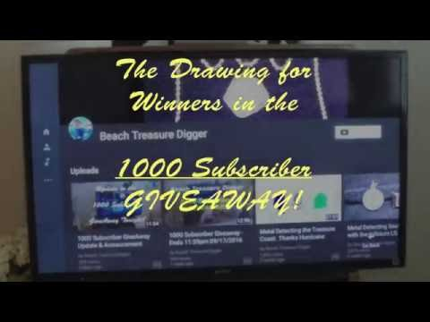 "Beach Treasure Digger Drawing for 1000 Subscriber ""GiveAway"" 09-22-16 CLOSED"
